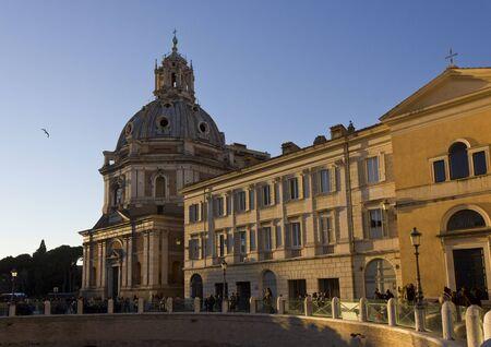 ROME, ITALY - JANUARY 1 2015: View from the street of Santa Maria di Loreto church in Rome, Italy Editorial