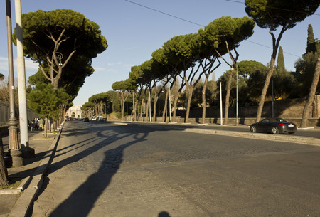 constantine: ROME, ITALY - JANUARY 1 2015: Via di San Gregorio street in Rome, that leads to the Arch of Constantine, with trees