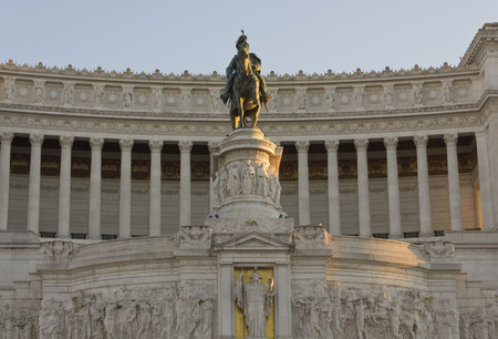 altar of fatherland: ROME, ITALY- JANUARY 1 2015: Day close up of the equestrian Statue of Emmanuel II in Rome, The Altar of the fatherland Editorial