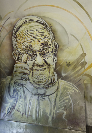 pope: ROME, ITALY - DECEMBER 31 2014: Mural of Pope Francis by French street artist Christian Guemy, in Rome metro station
