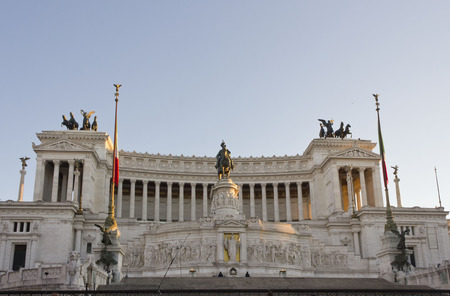 altar of fatherland: ROME, ITALY - JANUARY 1 2015: Day view of the Altar of the Fatherland in Rome, at sunset time