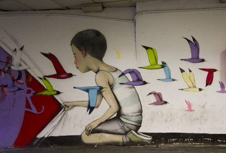 ROME, ITALY - DECEMBER 31 2014: Mural from French Painter Seth Globepainter in Rome metro station, Italy