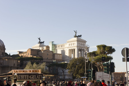 altar of fatherland: ROME, ITALY - JANUARY 1 2015: View from the distance of the Altar of the Fatherland in Rome, Italy