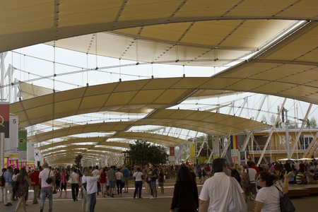 the world expo: MILAN, ITALY - JUNE 29 2015: Crowd of people visiting Expo, universal exposition on the theme of food