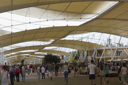 exposition: MILAN, ITALY - JUNE 29 2015: Crowd of people visiting Expo, universal exposition on the theme of food