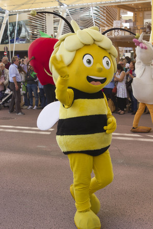 MILAN, ITALY - OCTOBER 12 2015: Foody daily Parade at Expo 2015, Universal exhibition on the theme of food held in Italy from May to October 2015. Detail of honeybee puppet