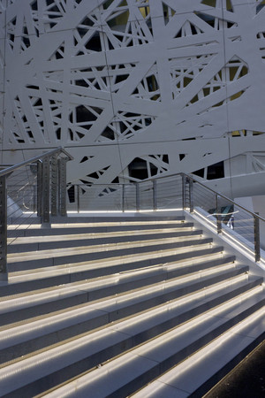 lighted: MILAN, ITALY - OCTOBER 12 2015: Architectural view of lighted staircase of Italian Pavilion at Expo 2015 in Milan, nobody around Editorial
