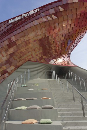 metalized: MILAN, ITALY - JUNE 29 2015: Architectural view of Vanke Pavilion staircase at Expo 2015 in Milan