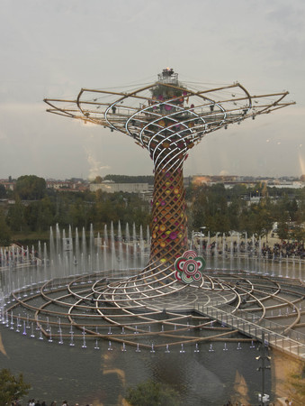 albero: MILAN, ITALY - OCTOBER 12 2015: View from the top of Albero della Vita, tree of life, symbol of 2015 Universal exhibition held in Milan, on October 12 2015