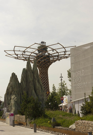 albero: MILAN, ITALY - JUNE 29 2015: Street view of Tree of Life at Expo 2015 in Milan, Universal exhibition on the theme of food, June 29 2015