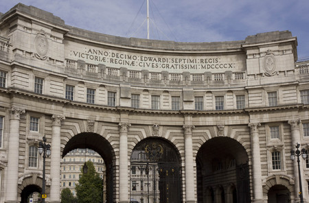 admiral: LONDON, UNITED KINGDOM - SEPTEMBER 11 2015: Architectural close up of Admiral Arch building in London