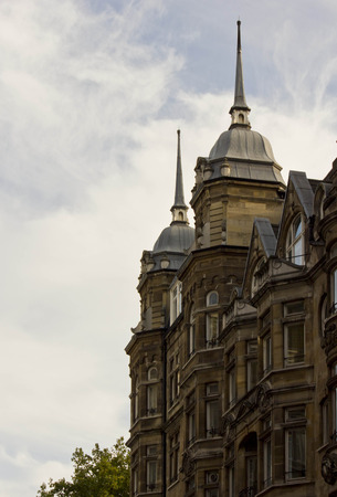 bow window: LONDON, UNITED KINGDOM - SEPTEMBER 11 2015: Roofing close up of an historic building in Oxford Street in London