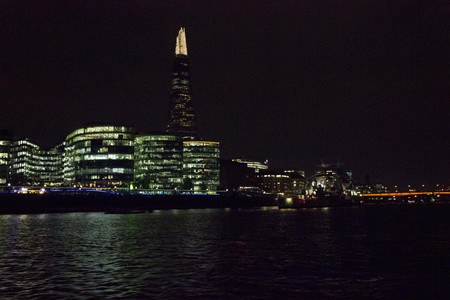 brasserie: LONDON, UNITED KINGDOM - SEPTEMBER 11 2015: London Skyline at night from river Thames, view of Modern buildings and the Sharp