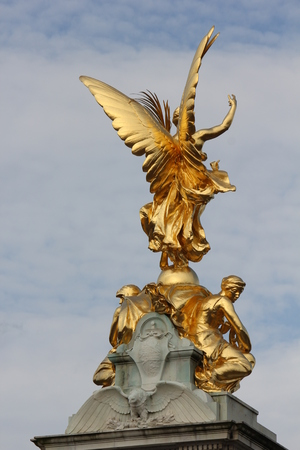 queen of angels: LONDON, UNITED KINGDOM - SEPTEMBER 11 2015: Architectural close up of Queen Victoria Memorial at Buckingham Palace square in London, on September 11, 2015 Editorial