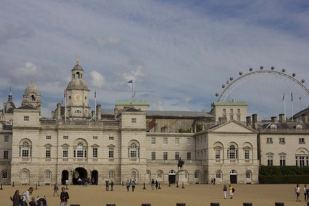 millennium wheel: LONDON, UNITED KINGDOM - SEPTEMBER 11 2015: Horse Guards Palace in London with the Millennium Wheel in the background.