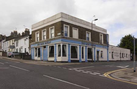 periphery: LONDON, UNITED KINGDOM - SEPTEMBER 12 2015: Lord Raglan old pub in London suburbs, Woolwich quartier