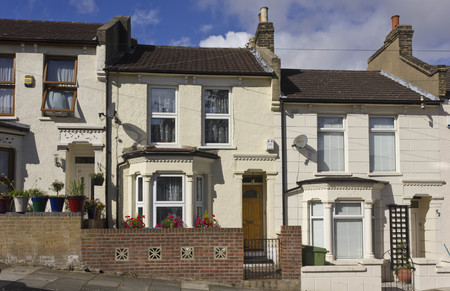 townhome: LONDON, UNITED KINGDOM - SEPTEMBER 12 2015: Traditional British houses facade in the suburbs of Woolwich, London
