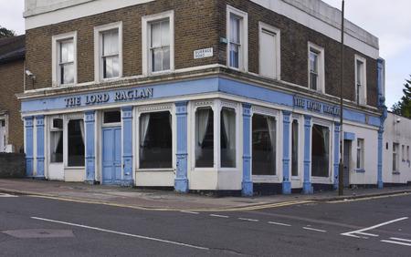 suburbs: LONDON, UNITED KINGDOM - SEPTEMBER 12 2015: Lord Raglan old pub in London suburbs, Woolwich quartier