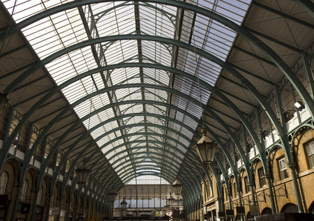 covent garden market: LONDON, UNITED KINGDOM - SEPTEMBER 12 2015: Covent Garden glazed roof in London, architectural with no people