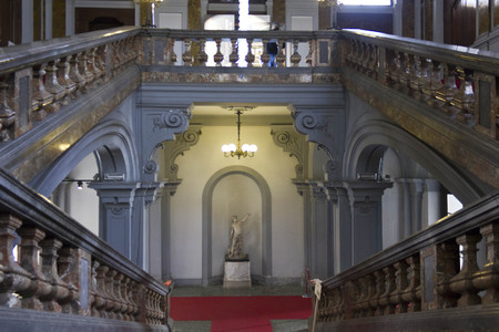building monumental: MILAN, ITALY - APRIL 16 2015: Monumental staircase of the historic Palazzo Arese Litta in Milan, Italy