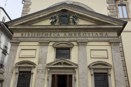 pediment: MILAN, ITALY - APRIL 16 2015: Architectural close up of Biblioteca Ambrosiana building in Milan, historic library in the city centre