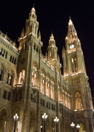 VIENNA, AUSTRIA - DECEMBER 31 2015: Architectural close up of the towers of Vienna Town House, Rathaus, no people