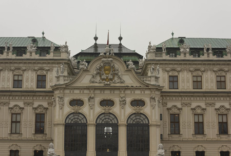 AUSTRIA, VIENNA - JANUARY  1 2016: Frontal view of Belvedere famous building in Vienna, Austria Editorial