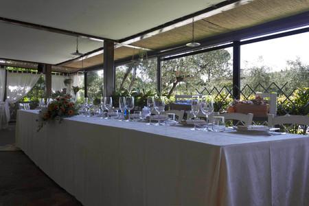 set up: LASTRA A SIGNA, ITALY - MAY 21 2016: Restaurant wedding set up, outdoor tent