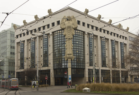 weber: VIENNA, AUSTRIA - JANUARY 2 2016: Facade of TU, Vienna University main Library building, with owls on the facade