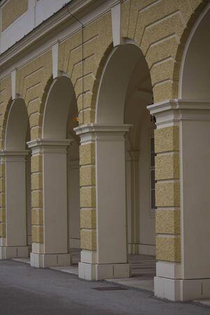 schloss schoenbrunn: VIENNA, AUSTRIA - JANUARY 2 2016: Architectural detail of the colonnade of Schonbrunn palace in Vienna, Austria