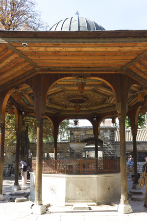 SARAJEVO, BOSNIA AND HERZEGOVINA - AUGUST 18 2017: Day view of the famous fountain of Sarajevo main mosque