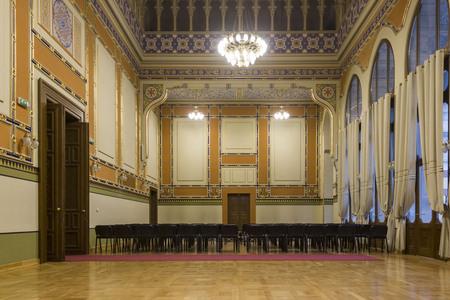 SARAJEVO, BOSNIA AND HERZEGOVINA - AUGUST20 2017: Room inside the sarajevo City Hall, no people Editorial