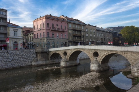 SARAJEVO -BOSNIA AND HERZEGOVINA - AUGUST 18 2017: THe famous Latin bridge in Sarajevoon Milijacka river, in summer season Editorial