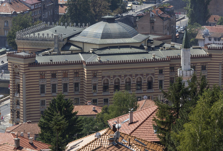 SARAJEVO, BOSNIA AND HERZEGOVINA - AUGUST 19 2017: View from the top of Yellow Fortress of the City Hall Editorial