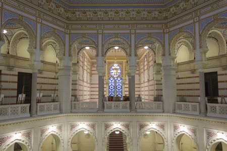 SARAJEVO, BOSNIA AND HERZEGOVINA - AUGUST 20 2017: Interiors of the City Hall os Sarajevo in pseudo Moorish style, after the recontruction works