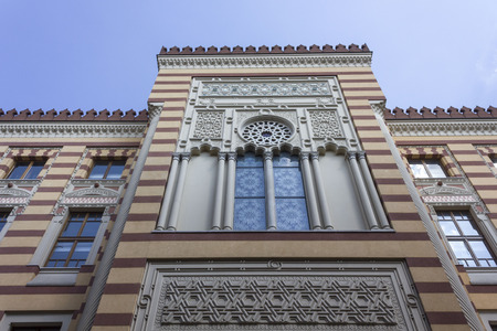 SARAJEVO, BOSNIA AND HERZEGOVINA - AUGUST 18 2017: Facade detail of Sarajevo city hall, renovated after the war distruction Editorial