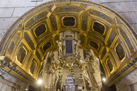 SPLIT, CROATIA - AUGUST 11 2017: Interiors of Saint Domnius Cathedral in Split, with its golden altar