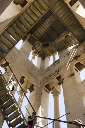 SPLIT, CROATIA - AUGUST 11 2017: Looking up inside Saint Domnius bell tower in Split, Croatia Editorial