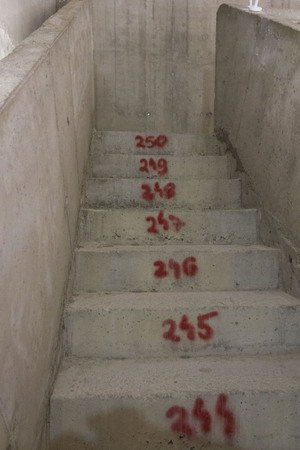 MOSTAR, BOSNIA AND HERZEGOVINA - AUGUST 17 2017: Numbered stairs inside the Mostar belfy
