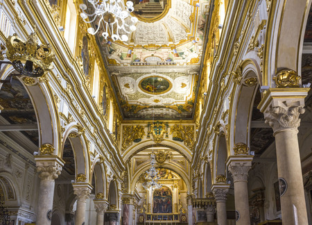MATERA, ITALY - AUGUST 25 2017: Architectural feature of the interiors of Matera Cathedral, Italy