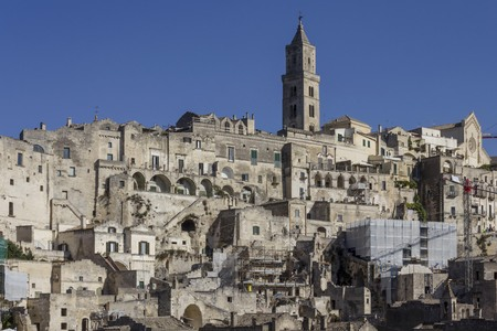 MATERA, ITALY - AUGUST 25 2017: Ancient buildings overview in Matera sassi district, Italy
