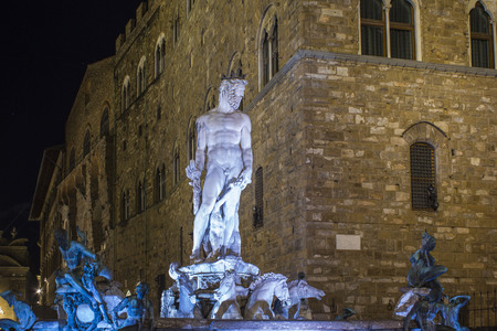 FLORENCE, ITALY - OCTOBER 30 2015: Neptune fountain in Signoria square in Florence