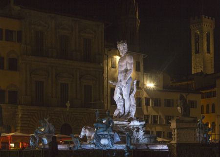 FLORENCE, ITALY - OCTOBER 30 2015: Night view of Neptune fountain in Florence