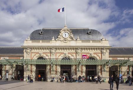 NICE, FRANCE - APRIL 23 2017: Nice main train station facade, France