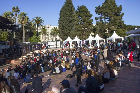 NICE, FRANCE - APRIL 22 2017. crowd of people outdoor waiting for a concert in Nice