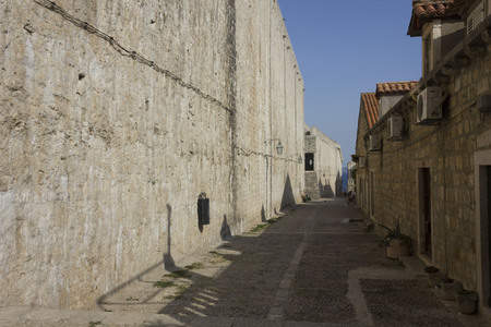 DUBROVNIK, CROATIA - AUGUST 22 2017: Dubrovnik outer walls, facing the sea Editorial