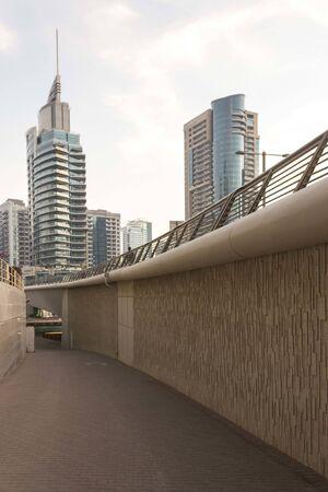 DUBAI, UAE - DECEMBER 27 2017: underpass on a bridge of Dubai Marina district in Dubai
