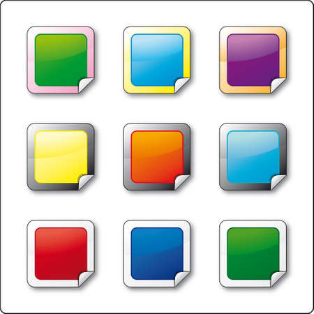 glossy buttons wet effect with a folded border Stock Vector - 6770435