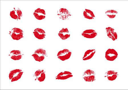 kisses imprint on white Vettoriali