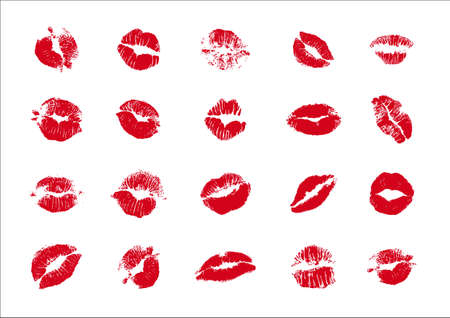 kisses imprint on white Illustration
